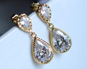 Wedding Jewelry Bridal Earrings Bridesmaid Earrings Dangle Earrings Clear White CZ Teardrop Earrings