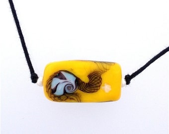 Yellow Lamp Work Glass Bead Necklace on two knot cord