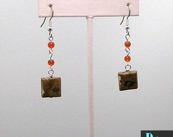 Rhyolite and Carnelian Dangle Earrings