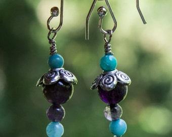 Genuine Amethyst and Amazonite Chandelier Earrings