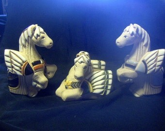 Winged Horses Sculptures  Set of Three Hand Painted Stone Signed