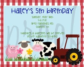 Farm Party Invitation - Farm Birthday Party Invitation - Farm Baby Shower Invitation -Farm Party Printable - Farm Baby Shower