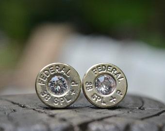 Bullet Earrings stud earrings or post earrings steampunk earrings Federal .38 special earrings silver earrings with clear Swarovski crystals