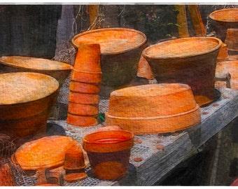 The Potting Table  (17x8.5 - Flower Pots - burnt sienna - Georgia - Textures - Blue Ridge -Fine Art Watercolor Print - Wall Decor) -