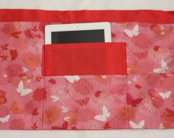 Vendor Teacher Waist Half iPad Apron Art Craft Spring Pink Butterfly Fabric (4 Pockets)