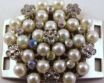 Pearl Cluster Large Bracelet Connector.. Rhinestone & Pearl Silver Plated Cuff Bracelet Connector