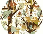 Teagan White for Birch Organic Fabrics, Fort Firefly, Tree Fort, 1 YARD
