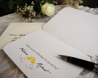 Wedding Thank You Card (Oriole Yellow, Sepia with Ivory Envelope) Set of 10 - The Heath Collection