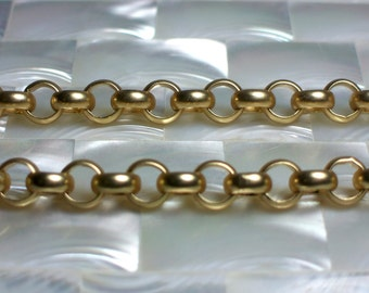 1 Foot Matte Gold 7mm Rolo Smooth Finish Chain Open Link Gold plated Nickel Free Brass Hypo Allergenic Jewelry Jewellery Craft Supplies