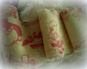 Pink French Toile - Nusery Rhyme - Hand Frayed & Distressed Ribbon Trim