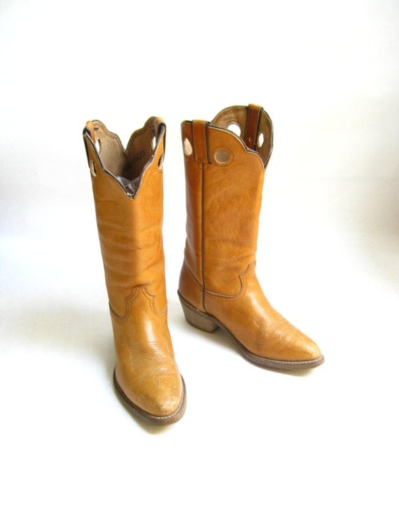 Model VINTAGE TEXAS COWBOY BOOTS WOMENS 7 C WIDE COWGIRL By Moivintage