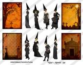 Digital Collage Sheet Vintage Halloween Witch Images (Sheet No.O213) Instant Download