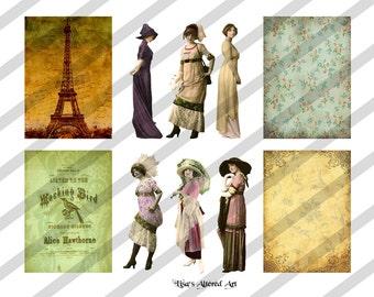 Digital Collage Sheet Vintage Lady Images Postcard ATC Images (Sheet no. O127) instant Download