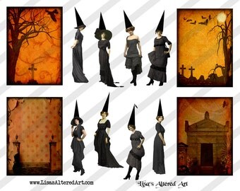 Digital Collage Sheet Vintage Halloween Witch Images (Sheet No.O213) Instant Download