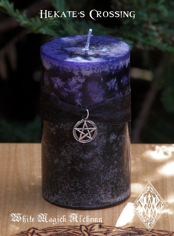 Hekate's Crossing . Fusion Pillar Candle 2x3 . Change, Personal Acceptance and Growth, New Beginnings, Banishing That Which Does Not Serve