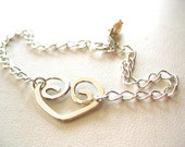 Sterling Heart Bracelet, Sterling Heart Bracelet, Open Heart Charm Bracelet, Handmade Heart Bracelet, Heart and Birthstone Bracelet