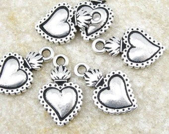 TierraCast Heart Milagro Charms - Antique Silver Heart Charms - Viva Mexicana Tierra Cast Sacred Heart Charms (P841)