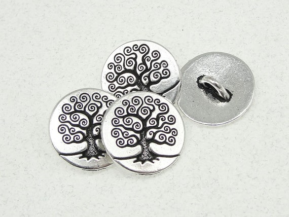 TierraCast Tree of Life Buttons - Antique Silver Button Findings - Woodland Rustic Silver Findings - Clasp for Leather Wrap Jewelry (PF528)