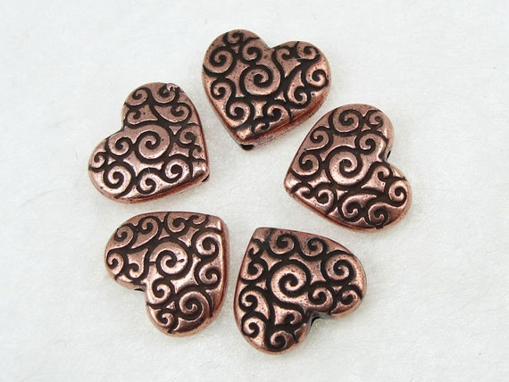 Copper Heart Beads Puffed Heart Copper Beads TierraCast HEART SCROLL Beads Antique Copper Beads Tierra Cast Pewter  (P473)