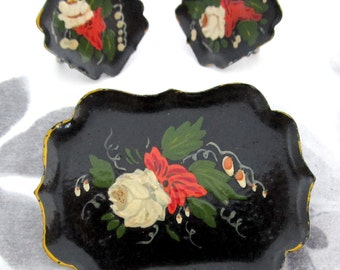 vintage miniature tole tray demi parure - j5383