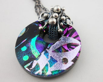 Fused Dichroic and Fine Silver Pendant