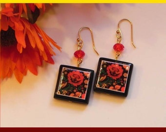 Hand crafted polymer clay FLOWER earrings