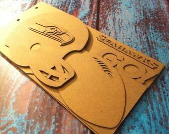 Superbowl Football Scrapbook - SEATTLE SEAHAWKS - custom Sport scrapbook chipboard album BLANK 6pg