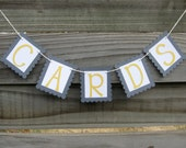 Mini Gray and Yellow Cards Banner, wedding garland for card box, suitcase, or birdcage