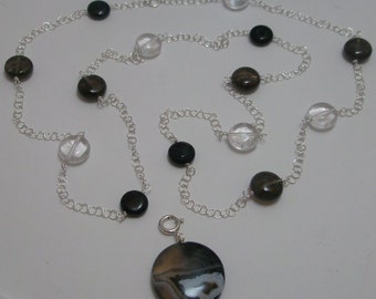 Smokey Quartz and Agate Station 32 inch Necklace and Detachable Pendant