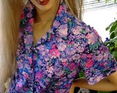 70s Vintage blouse pockets floral button up medium Hippie Casual Mother day size Medium