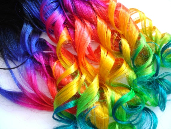 Hair Extensions Dip Dyed Off Black/Neon Rainbow by IKickShins