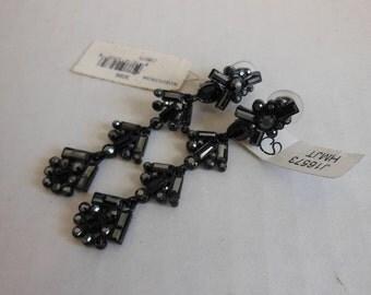 1990s earrings / Vintage 90's ST John Rhinestone Black Dangle Earrings
