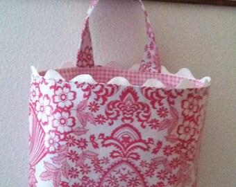 Beth's Pink Paradise Oilcloth Car Trash Bag Receptacle with Rick Rack