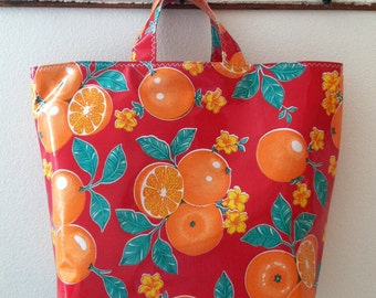 Beth's Red Oranges Oilcloth Grocerty Tote Market Bag