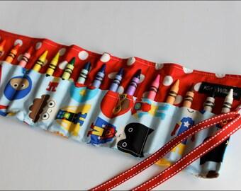 Super Hero Crayon Roll-Crayon Holder, Stocking Stuffer- Kids Gift-Boy Christmas Gift-Kid Travel Art Item-Kid Craft Item
