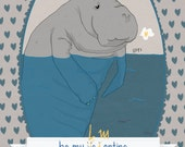 Be my  lame... valentine, manatee illustration postcard