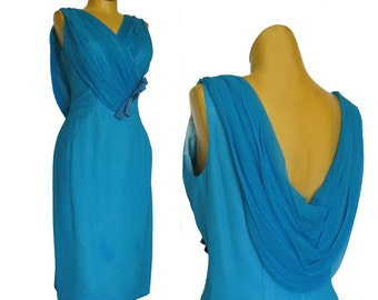 1960s Lilli Diamond Dress / Draped Back Neckline / Aqua Blue Chiffon Bombshell Cocktail Dress / Hourglass Dress / Holiday Party Dress / Sexy