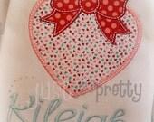 Bow Heart Embroidery Applique Design