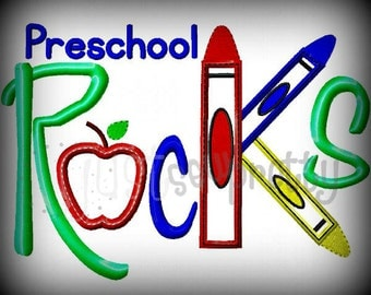 Preschool Rocks Embroidery Applique Design