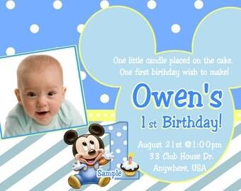 Baby Mickey 1st Birthday Invitation / Baby Mickey Mouse Invitation / Baby Mickey Mouse Birthday / Baby Mickey Mouse Invite