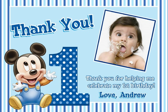 Mouse 1st Birthday Thank You Cards – 1st Birthday Thank You Cards