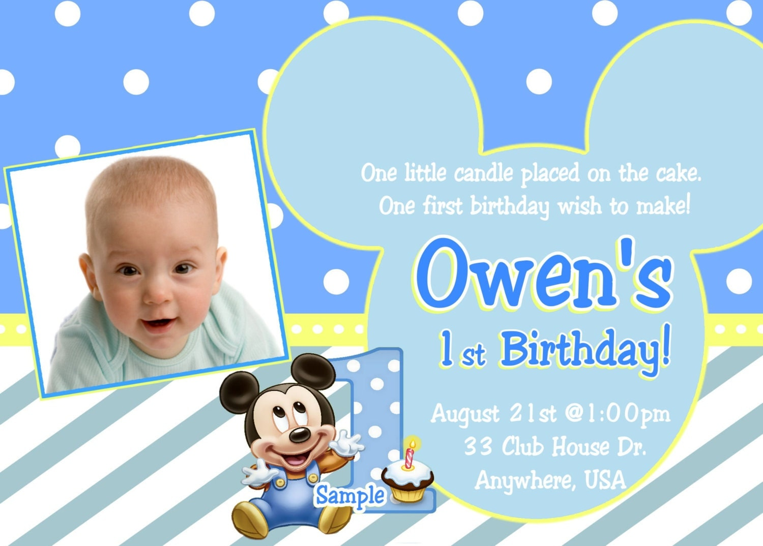 Baby Mickey Mouse Birthday Invitation Template Orderecigsjuiceinfo - One year birthday invitation template