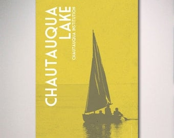 Chautauqua Institution Poster, Chautauqua Lake Poster, Sailboat Poster Vacation Art Print Poster, Travel Art, 12x18 Print