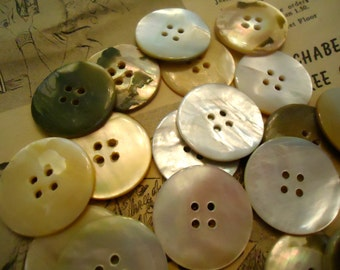 "Vintage MOP mother of pearl buttons antique 1 1/16"" golden mossy  4 holes 20 pcs"