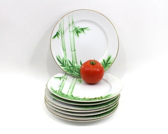 1950s Plate Set Tiki Bamboo Hand Painted Porcelain, Buy One or More