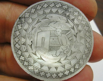 Antique Asian Mother of Pearl GAMING Piece, GAMBLING CHIP, Counter, Hand Engraved, 31mm, Number 13, wonderful condition
