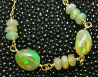 WELO OPAL BEADS Necklace, 14 Kt Yellow Gold, 18 inches long