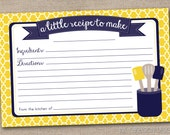 Printable Recipe Card Design - Yellow and Navy Blue Kitchen Utensils - INSTANT DOWNLOAD