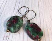 Ruby Zoisite, Green Energy Stone Earrings, Anyolite