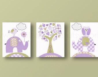 Baby Room Wall Art Owl nursery elephant Purple and green Nursery Decor - baby nursery decor Bird art - Set of 3 Prints Tree Of Love